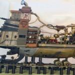 Steampunk, navio em miniatura tem caldeira para gerar vapor e mover componentes